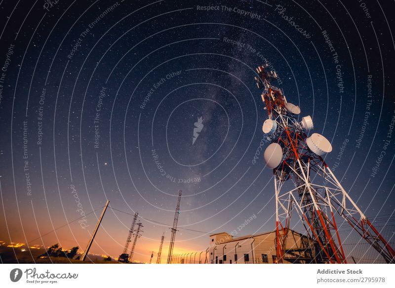 Radio tower against starry sky Radio (broadcasting) Tower Sky Stars Night Communication Station Industry Technology Telecommunications Equipment Antenna