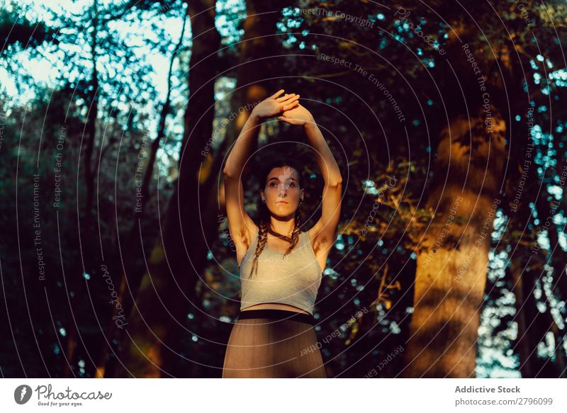 Young woman in majestic forest Woman Forest Calm Looking away Harmonious Nature Lifestyle Youth (Young adults)
