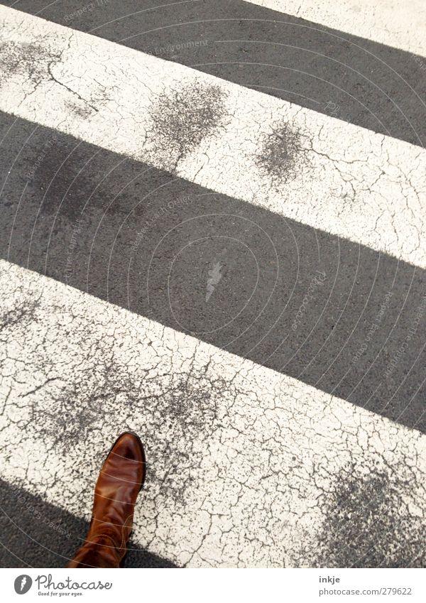Human being Old Street Movement Feet Going Transport Clothing Target Asphalt Traffic infrastructure Diagonal Boots Leather Passenger traffic Pedestrian