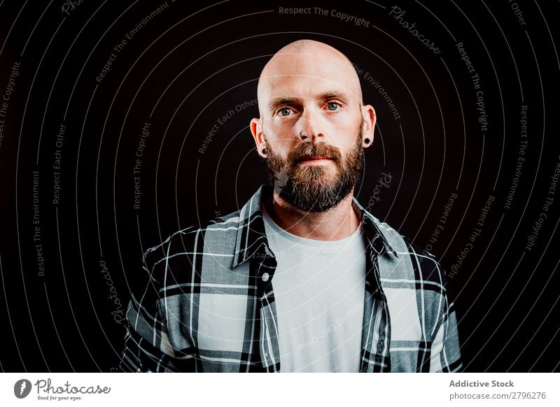 Young bald guy on black background Man Hipster Bald or shaved head Youth (Young adults) Guy bearded T-shirt Hand hairless Easygoing handsome Art Cool (slang)