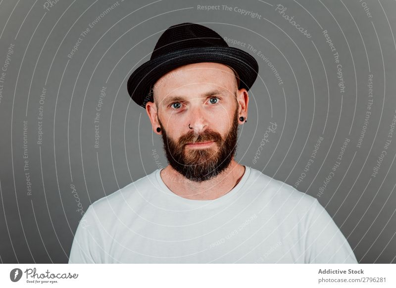 Young bald guy with hat black background Man Hipster Bald or shaved head Youth (Young adults) Guy bearded T-shirt Hand hairless Easygoing handsome Cool (slang)