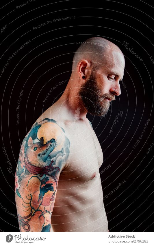 Young shirtless bearded guy with tattoos Man Tattoo Hipster Youth (Young adults) Guy Bald or shaved head Hand Indicate handsome Art Cool (slang) Studio shot