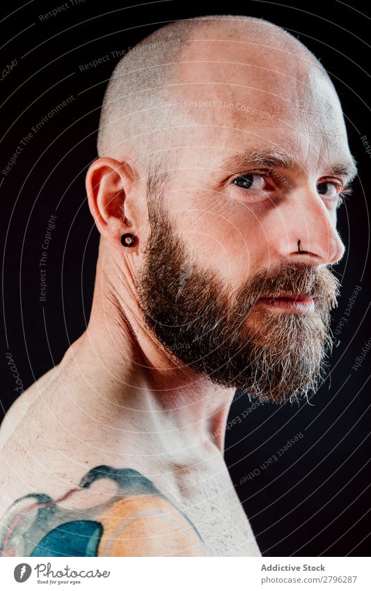 Pensive adult bearded man Man shirtless Hipster Earring Piercing Considerate Bald or shaved head Guy handsome Head Cool (slang) Studio shot hairless Interest