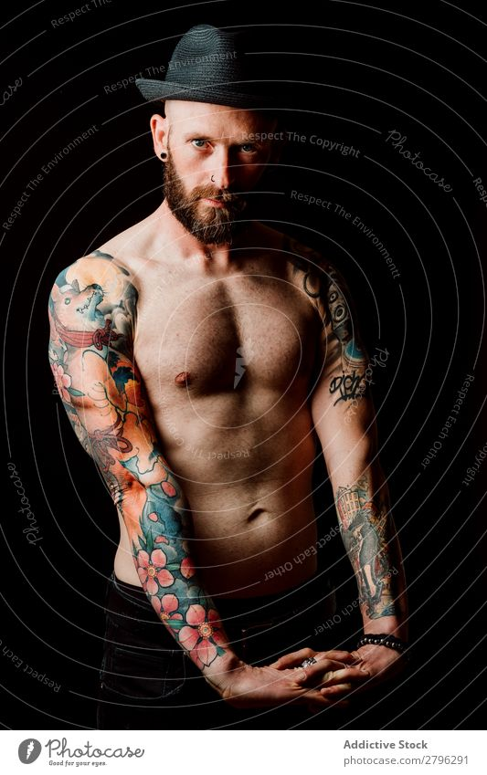 Young shirtless bearded guy with tattoos Man Tattoo Hipster Youth (Young adults) Guy Bald or shaved head Hand Indicate Arm handsome Art Cool (slang) Studio shot