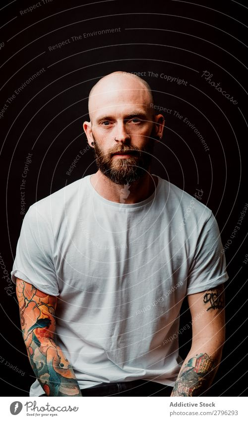 Young bald guy showing tattoos Man Tattoo Hipster Bald or shaved head Youth (Young adults) Guy bearded T-shirt Hand hairless Easygoing handsome Art Cool (slang)