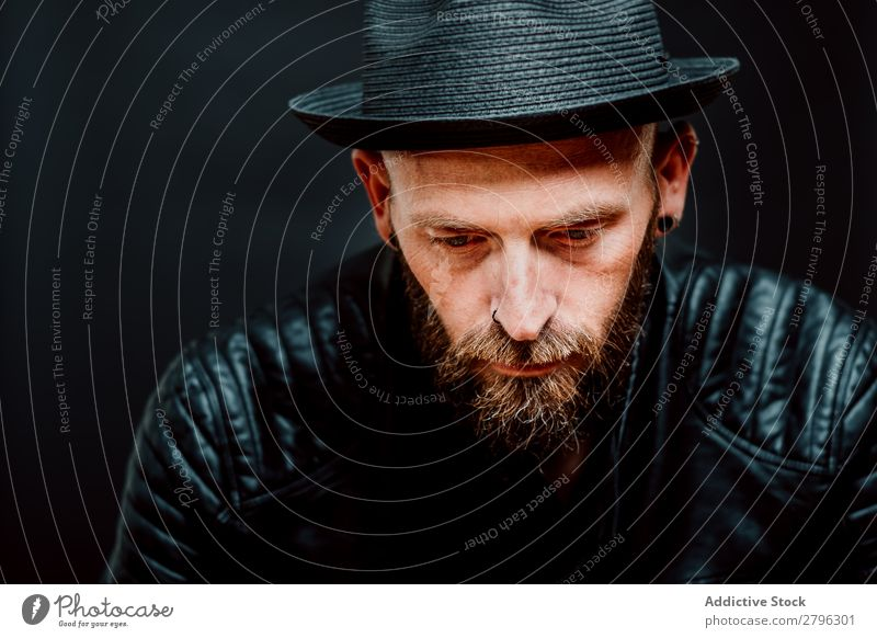 Young bearded guy in leather jacket Man Leather jacket Hipster Youth (Young adults) Hat Guy handsome Cool (slang) Style Easygoing Studio shot Interest Macho