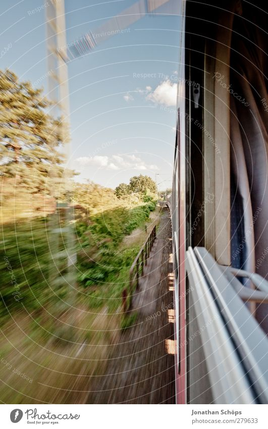 Landscape Movement Train window Travel photography Transport Trip Speed Railroad Beautiful weather Driving Mobility Passenger traffic Track Express train