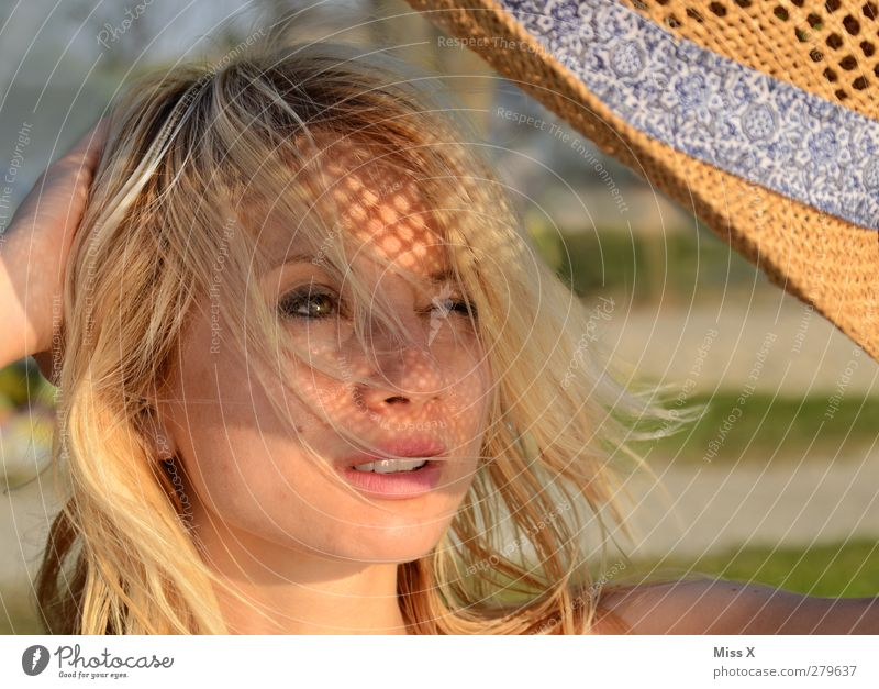 coneflower Beautiful Face Summer vacation Sun Sunbathing Human being Feminine Young woman Youth (Young adults) 1 18 - 30 years Adults Hat Blonde Long-haired