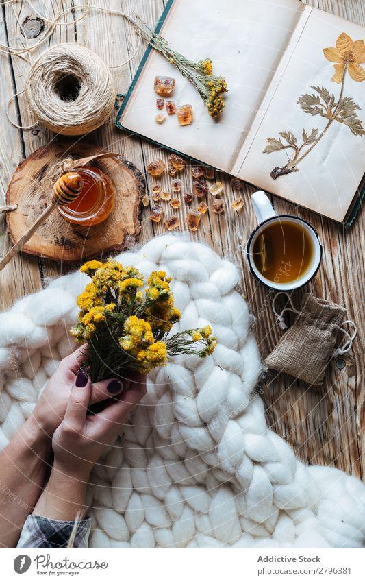 Crop hands holding flowers near honey and tea Hand Flower Tea Honey Blanket Notebook Dried Plant