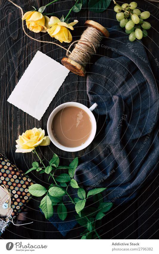 Flowers and empty note near coffee Rose Coffee Blank Table Cloth Bunch of grapes Thread Surprise Gift Cup Drinking Beverage Hot Fresh Blossom Floral Empty