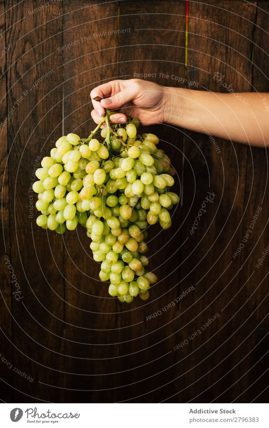 Crop hand with bunch of grapes Hand Bunch of grapes Wall (building) Wood Woman Fruit Harvest Plant Organic Seasons Autumn Natural Surface Timber Healthy Sweet