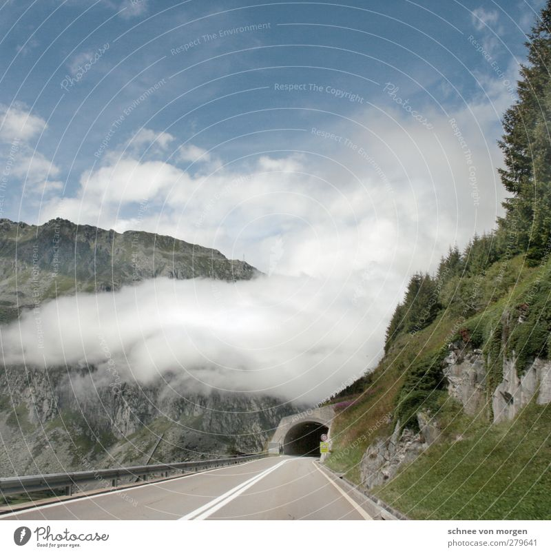 cheerful to cloudy Environment Nature Landscape Sky Clouds Climate Weather Fog Grass Rock Alps Mountain Transport Means of transport Traffic infrastructure