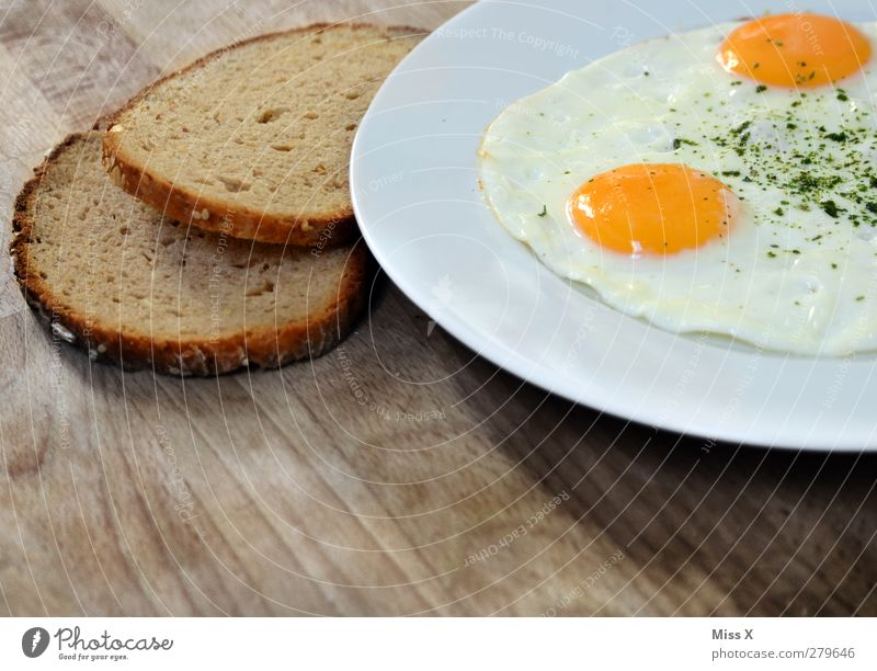 White Yellow Food Nutrition Breakfast Delicious Bread Plate Dinner Lunch Rustic Wooden table Hen's egg Fried egg sunny-side up Slice of bread