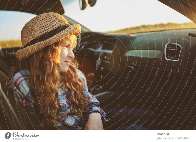 happy child girl relaxing in car during summer road trip Lifestyle Joy Happy Leisure and hobbies Playing Vacation & Travel Trip Adventure Freedom Expedition