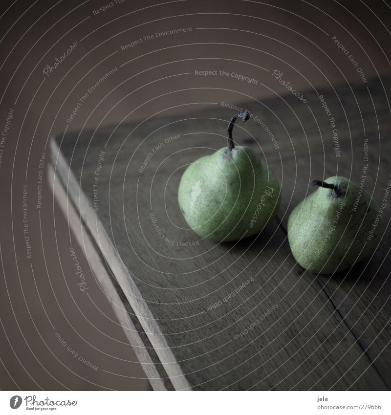pears Food Fruit Pear Nutrition Healthy Delicious Brown Green Wooden table Colour photo Interior shot Deserted Copy Space top Copy Space bottom
