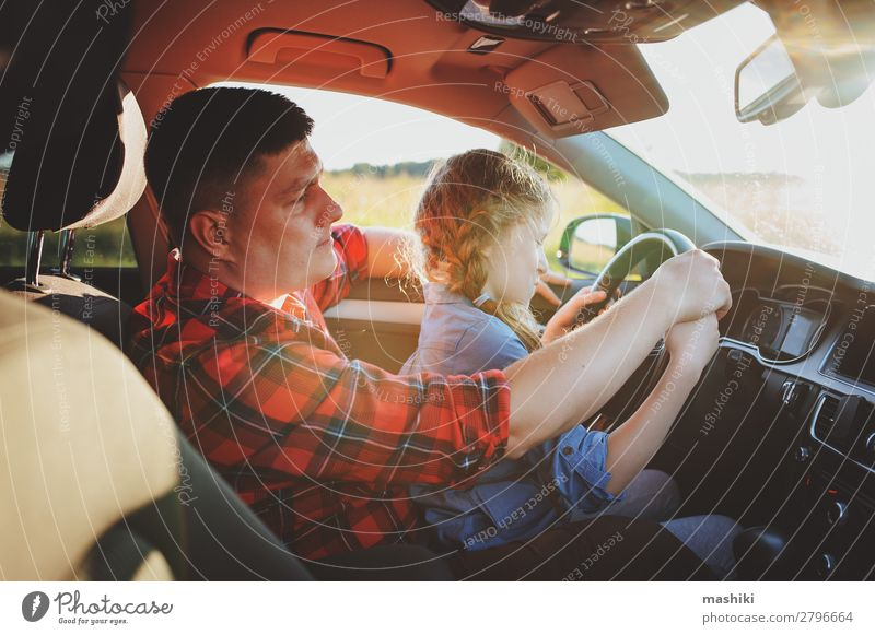 father teaching kid daughter to drive a car Lifestyle Joy Happy Relaxation Vacation & Travel Trip Summer Child Parents Adults Father Family & Relations Infancy