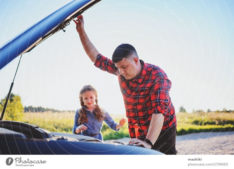 father and daughter fixing problems with car Child Man Summer Street Adults Family & Relations School Together Work and employment Car Transport Authentic