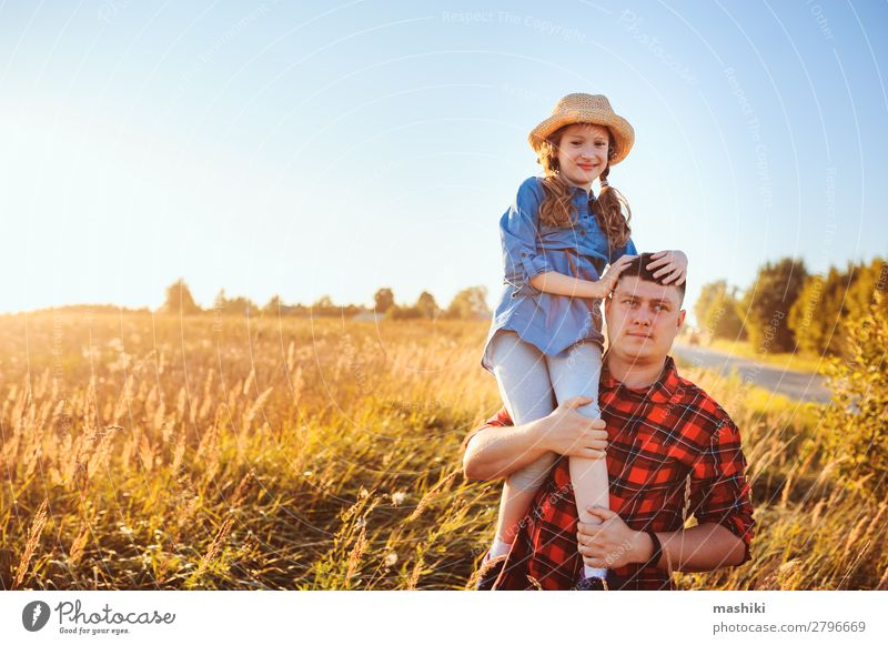 happy father and daughter walking on summer meadow Lifestyle Joy Relaxation Vacation & Travel Freedom Summer Parenting Child Man Adults Parents Father