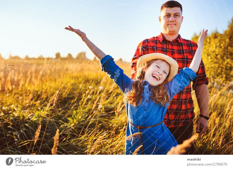 happy father and daughter walking on summer meadow Child Vacation & Travel Nature Man Summer Landscape Sun Relaxation Joy Lifestyle Adults Love