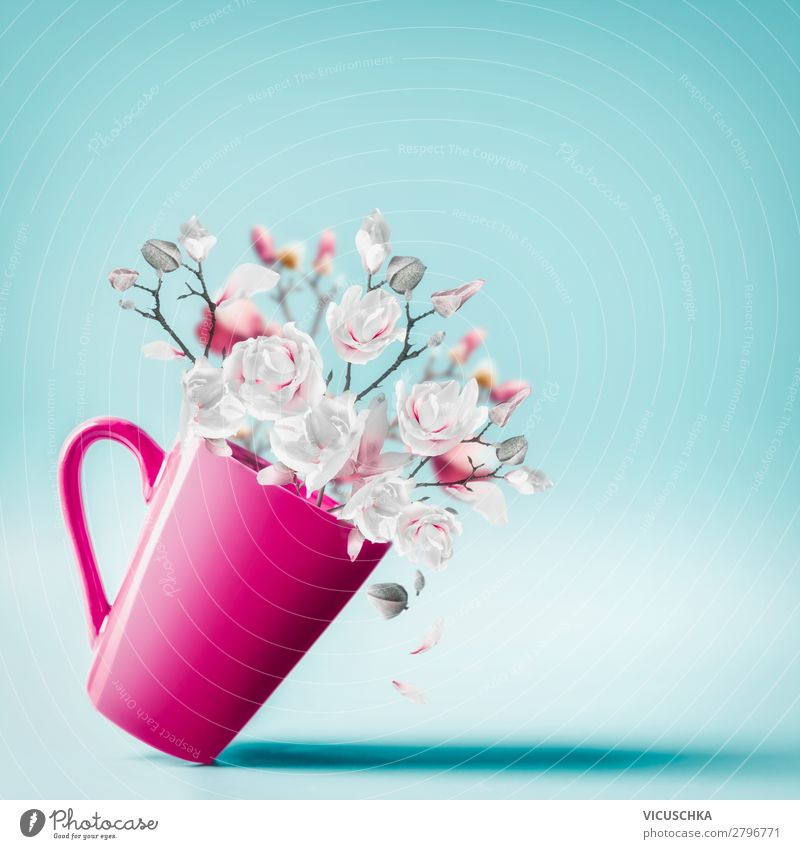 Cup with spring blossoms Shopping Style Design Summer Decoration Valentine's Day Mother's Day Wedding Birthday Flower Blossom Bouquet Love Background picture
