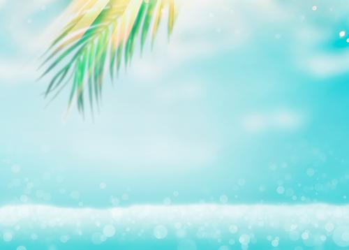 Summer sea background with palm leaves Lifestyle Design Joy Vacation & Travel Summer vacation Beach Ocean Waves Nature Leaf Background picture Palm frond