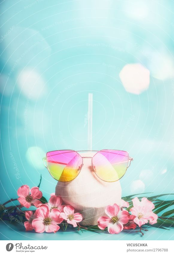 Fresh coconut cocktail with pink sunglasses Beverage Longdrink Cocktail Lifestyle Style Design Vacation & Travel Adventure Summer Summer vacation Sun Beach