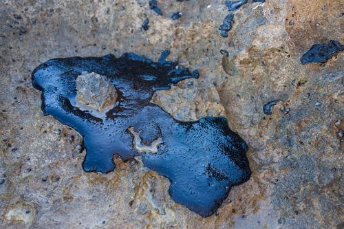 Crude oil spill on a rock from the beach Beach Industry Environment Sand Rock Coast Stone Oil Dirty Black Death Disaster Energy Environmental pollution blob