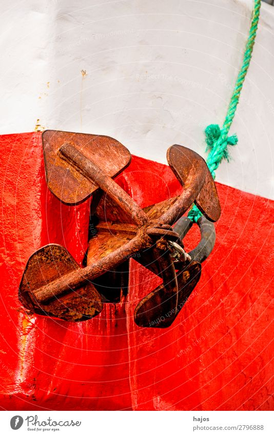 old, rusty anchor at a red-white fishing boat Snowboard Navigation Fishing boat Maritime Red White Anchor Old Reddish white fishing cutter ship Harbour