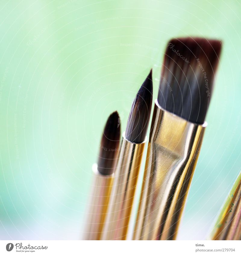 Artists Paintbrush Brush handle Hair and hairstyles Metal Esthetic Sharp-edged Point Gold Colour Stagnating Flat Glittering Tool painting tool Bristles