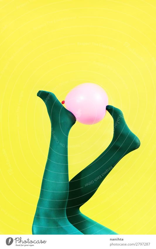 Green legs of a woman holding a pink balloon Design Body Contentment Feminine Woman Adults Legs Art Tights Balloon Esthetic Cool (slang) Eroticism Fresh Funny