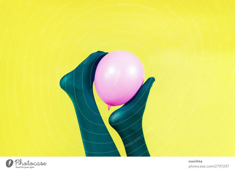 Green legs of a woman holding a pink balloon Woman Colour Eroticism Adults Yellow Funny Feminine Style Art Feet Pink Design Contentment Body Retro