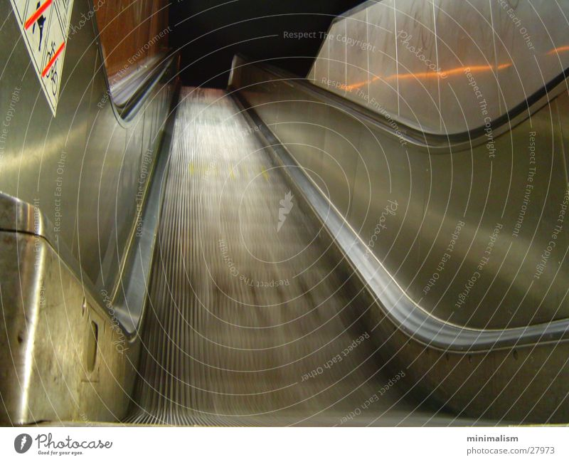 A journey into the unknown Escalator Motion blur Cold Night Dark Transport stairs Movement Dynamics