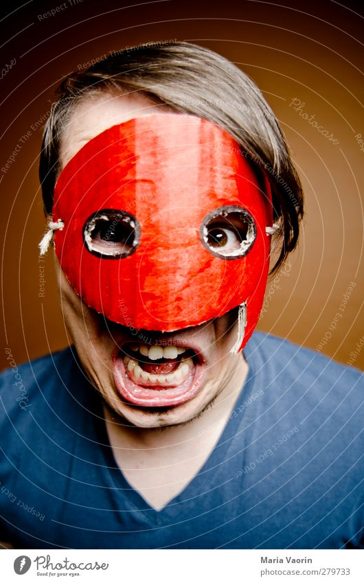 Human being Man Adults To talk Masculine Crazy T-shirt Communicate Mysterious Mask Advice Argument Whimsical Scream Brunette Hero