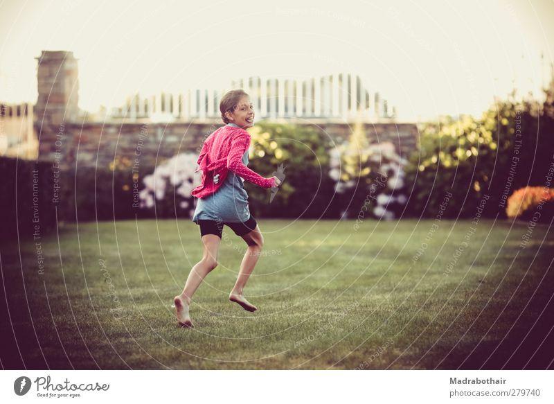 Human being Child Beautiful Girl Joy Meadow Feminine Life Movement Laughter Happy Garden Pink Infancy Natural Walking