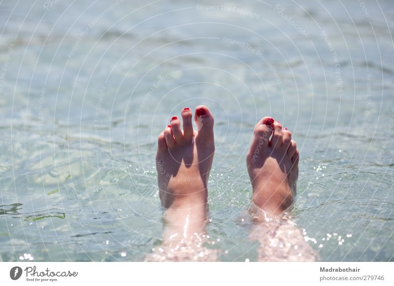 Youth (Young adults) Water Vacation & Travel Summer Ocean Girl Joy Calm Relaxation Feminine Coast Feet Swimming & Bathing Lie Waves Wet