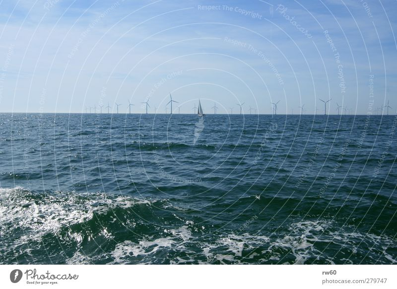 wind power Wind energy plant Energy industry Renewable energy Energy crisis Water Baltic Sea Industrial plant Sailboat Concrete Metal Innovative Colour photo