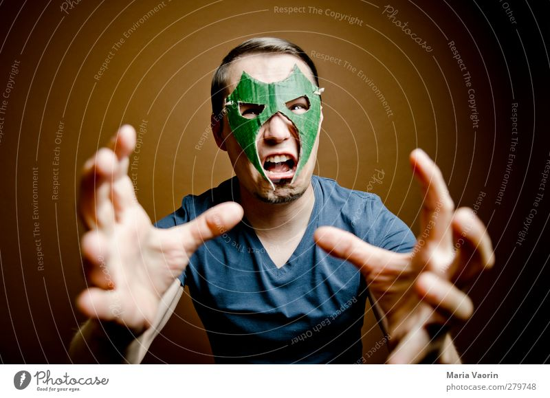 Human being Man Adults Masculine Crazy Might Threat T-shirt Mask Catch Anger Brave Whimsical Scream Brunette Fight
