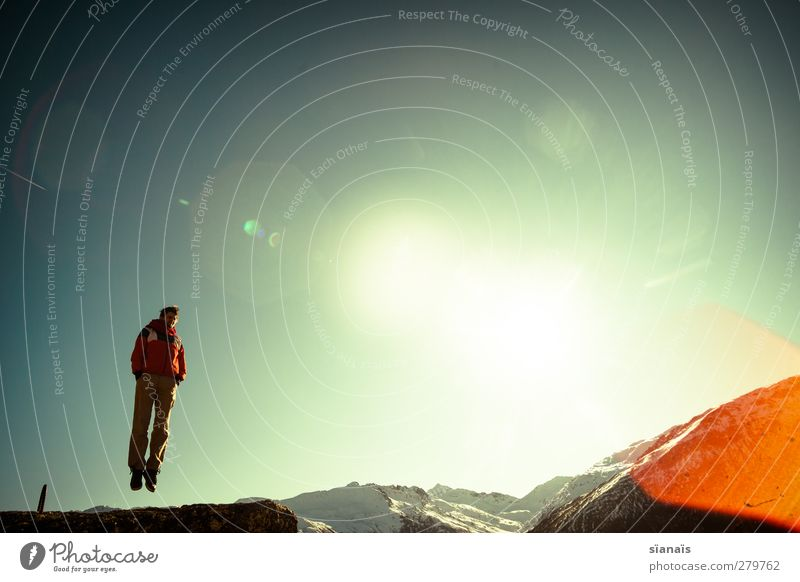 Human being Sky Nature Man Joy Winter Adults Environment Mountain Life Snow Above Freedom Happy Jump Horizon