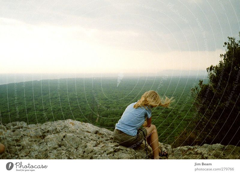 Human being Nature Youth (Young adults) Plant Landscape Feminine Young woman Sadness Rock Infancy Wind Longing