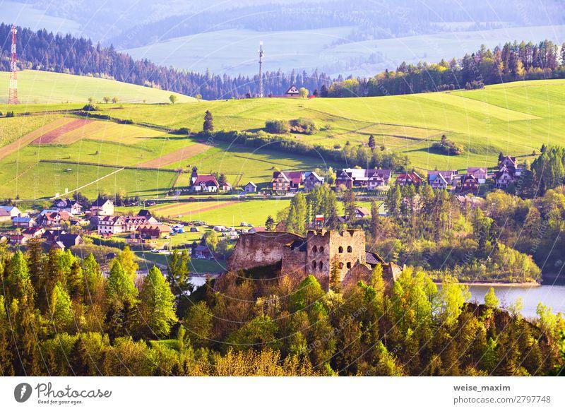 Czorsztyn castle behind Tatra Mountains, Pieniny range Vacation & Travel Nature Summer Plant Blue Beautiful Green Landscape Tree House (Residential Structure)