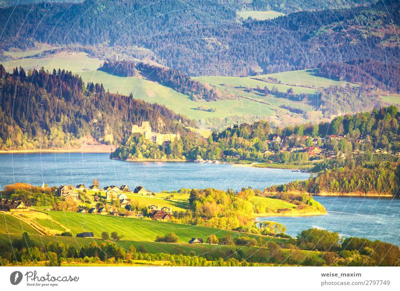 Sunset over green fields and meadows. Czorsztyn castle Vacation & Travel Nature Summer Blue Beautiful Green Water Landscape Tree House (Residential Structure)
