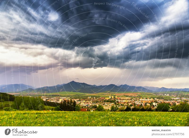 Spring storm in mountains. Overcast dramatic sky Sky Vacation & Travel Nature Summer Town Green White Landscape Flower House (Residential Structure) Clouds