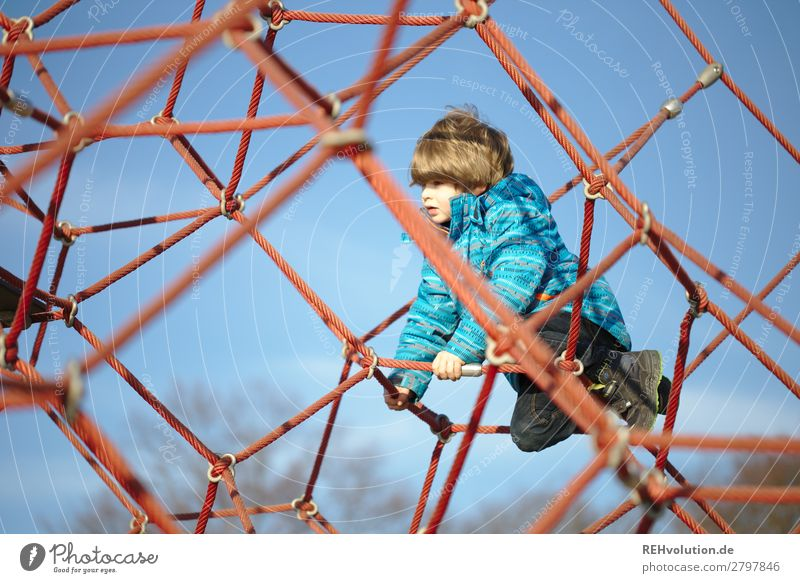 Boy climbs on the playground Leisure and hobbies Playing Human being Child Boy (child) Infancy 1 3 - 8 years Sky Cloudless sky Spring Beautiful weather