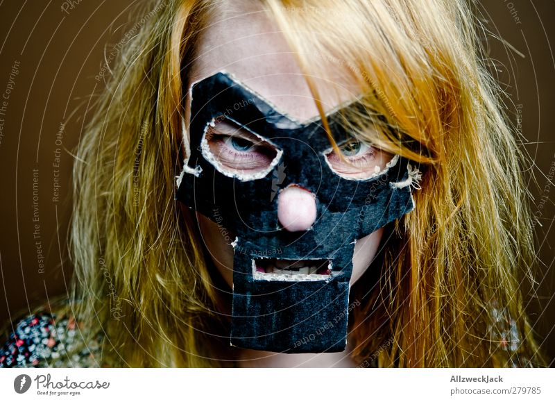 Human being Youth (Young adults) Black Adults Dark Death Feminine Young woman Brown 18 - 30 years Blonde Exceptional Crazy Mask Carnival Watchfulness