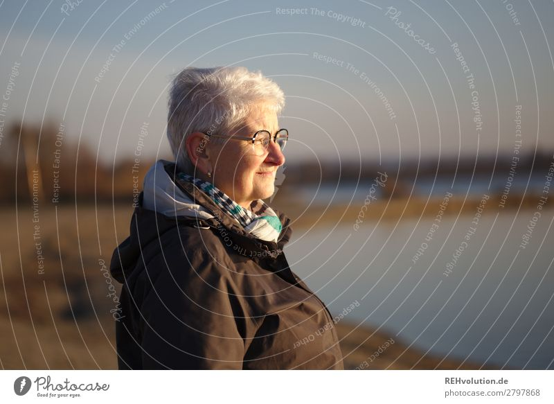 Senior woman with view at the lake Gray-haired Old Peaceful Exterior shot Landscape Sunlight Idyll Beautiful weather Sky silent Calm Human being evening light