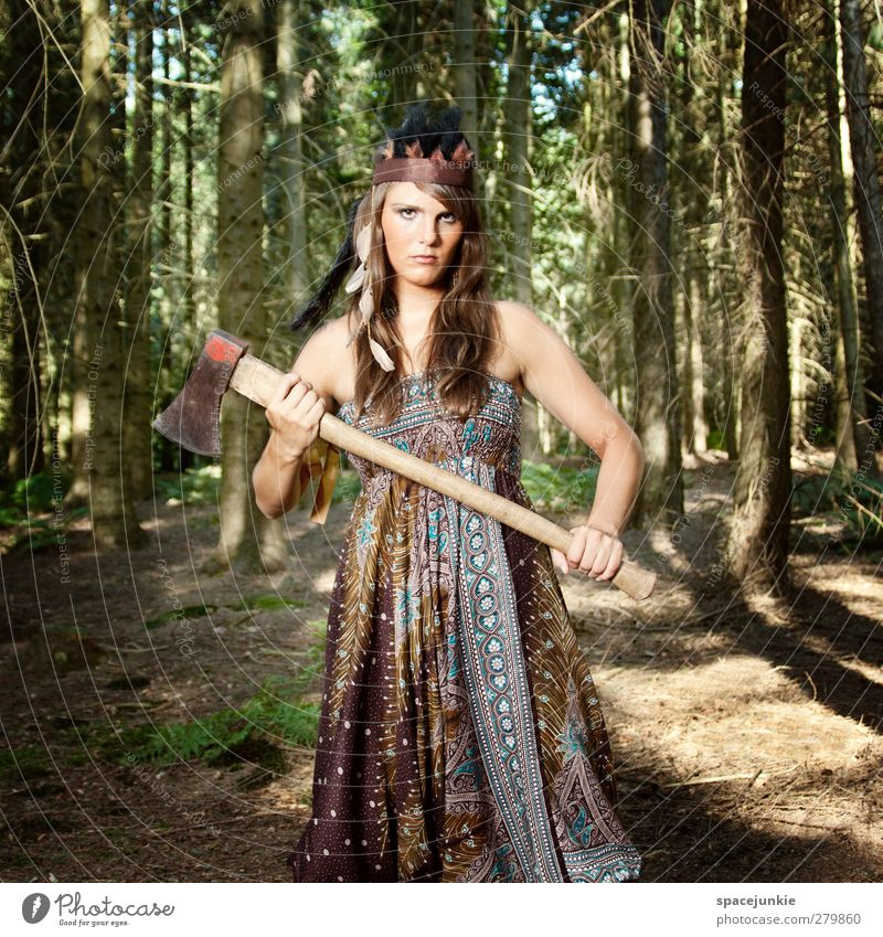 With the axe in the forest (2) Human being Feminine Young woman Youth (Young adults) 1 18 - 30 years Adults Environment Nature Summer Plant Tree Forest Creepy