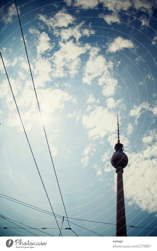 [b]loved Sky Sky only Beautiful weather Town Capital city Transport Traffic infrastructure Exceptional Blue Berlin TV Tower Tourist Attraction Colour photo