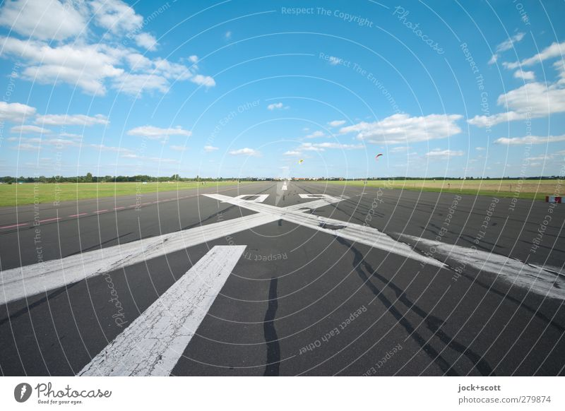 Airfield clear! Hang gliding Clouds Summer Beautiful weather Meadow Airport Tourist Attraction Runway Crucifix Line Stripe Flying Free Infinity Warmth Moody
