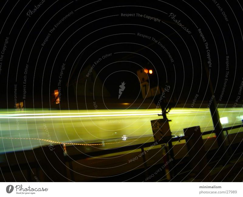 Caution on track 3 Underground Commuter trains Motion blur Night Dark Railroad Transport Signal