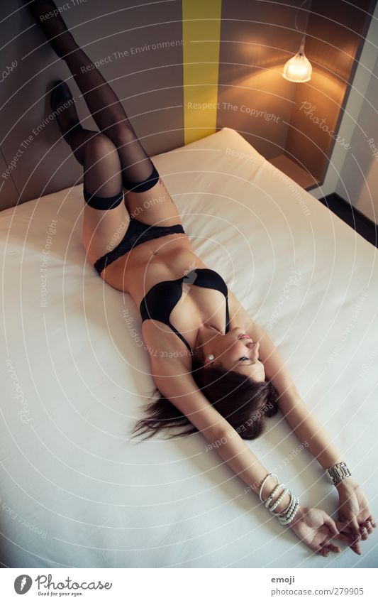 \\\ Feminine Young woman Youth (Young adults) 1 Human being 18 - 30 years Adults Stockings Underwear Eroticism Bed Hotel room Lie Nude photography Body